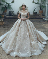 Eslieb Luxury High-end Custom made lace Wedding dress 2019 Ball Gown V-neck wedding Dresses Vestido de Noiva Bridal Gown