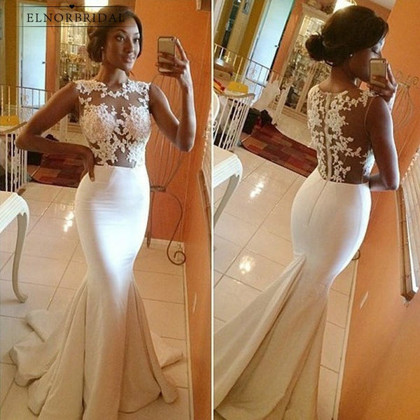 Vintage African Mermaid Wedding Dresses 2019 Vestido De Noiva Illusion Custom Made Bridal Gowns Lace Abiti Da Sposa