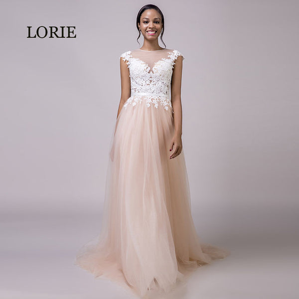 d4a876a586 LORIE Coral Wedding Dress 2019 Appliques Lace Beach Wedding Gown Long  Custom Made Tulle Zipper Pink