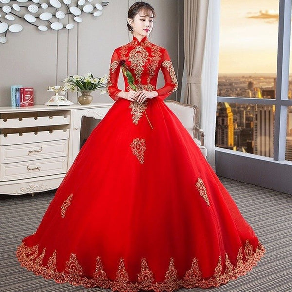 Red Long Sleeve Wedding Dress Gold Lace Long Tail Wedding Dresses 2018  Princess High Neck Luxury f11e83a86699