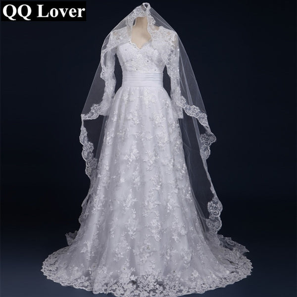 QQ Lover 2019 Sexy Long Sleeves Lace Vestido De Noiva With Veil Custom-Made Bridal Gown Wedding Dress