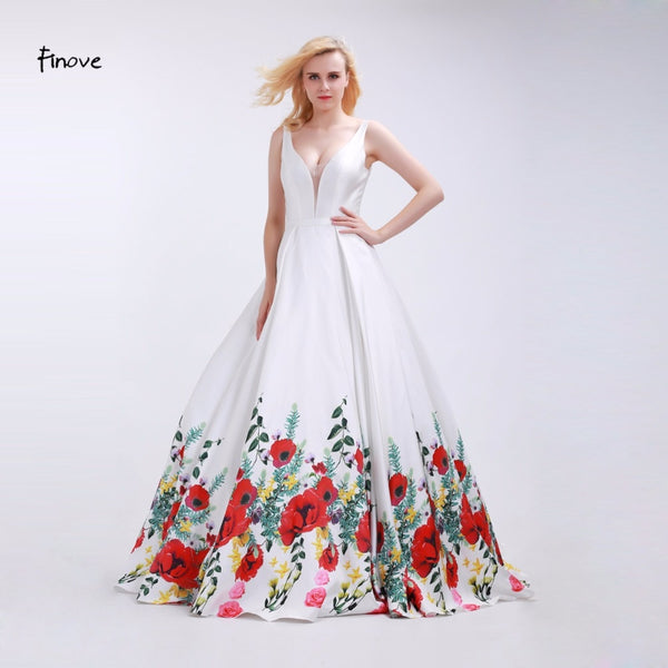 33a2135bc9 Finove White Prom Dresses Girls 2019 Sexy V-Neck Fashionable Red Flowers  Pattern Sleeveless and ...