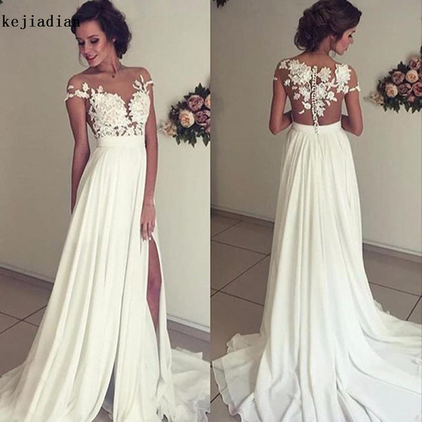 Vintage Chiffon Beach Wedding Dress 2018 Summer White Cap Sleeves V Neckline Fitted Split Boho Bridal Gowns Robe De Mariage