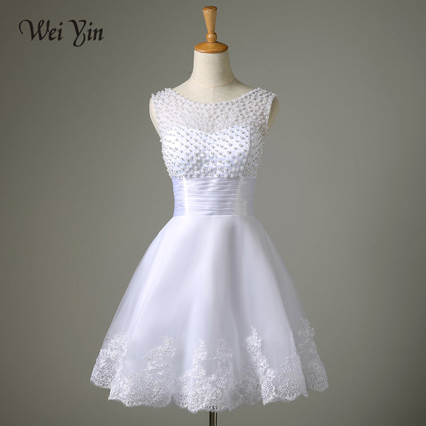WeiYin Robe De Mariage 2019 White/Ivory Short Wedding Dress Brides Sexy Lace Bridal Wedding Gown Vestido De Noiva Real Sample
