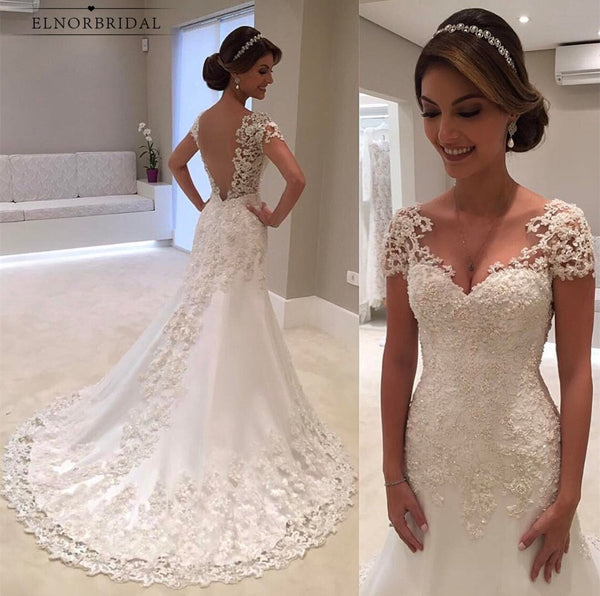 Vintage Lace Mermaid Wedding Dresses 2019 Robe De Mariee Backless Bridal Gowns Handmade Trouwjurk Wedding Gown Online Alibaba