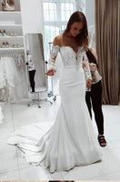 Alexzendra Mermaid Wedding Dress 2019 Customize Scoop Neck Long Sleeves Elegant Bridal Gown Plus Size vestido de novia