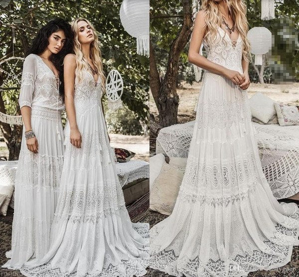 Beach Wedding Dresses 2019 Lace and Chiffon Sleeveless Summer Bohemian Bridal Gown vestidos de novia 2019 bride gelinlik Boho