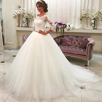 Robe De Marriage 3/4 Sleeves Plus Size Wedding Dress 2019 Vintage Lace Ball Gown Wedding Dresses Bridal Gowns Vestidos De Novia