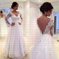 Robe De Marriage Elegant Sexy Backless Wedding Dress 2019 Long Sleeves Applique Lace A line Wedding Gown Plus Size Bride Dresses