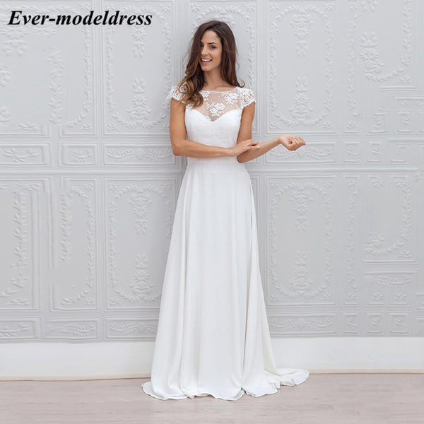 vestido de noiva 2019 Chiffon Beach Wedding Dresses With Lace Short Sleeves Illusion Boho Bridal Gowns robe mariage