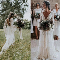 Bohemian Lace Sheath Wedding Dresses Long Sleeves 2019 V-Neck Beach Country Bridal Gowns Cheap Abiti Da Sposa