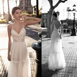 Wedding Dresses 2019 Lace V Neck Bohemian Wedding Gown Spaghetti Straps A Line Backless Sexy Summer boho Beach Bridal Gown novia
