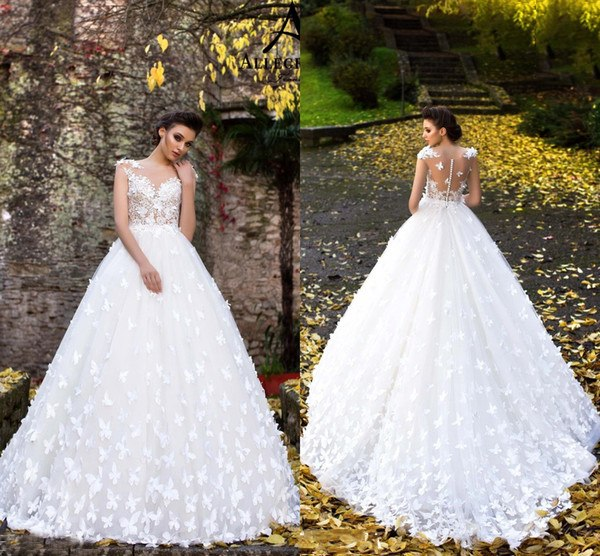 Bridal Wedding Dresses 2019 White Butterflies Hand Made Flowers Flare Fitted Sheer Neck Appliques Cap Sleeves Bridal