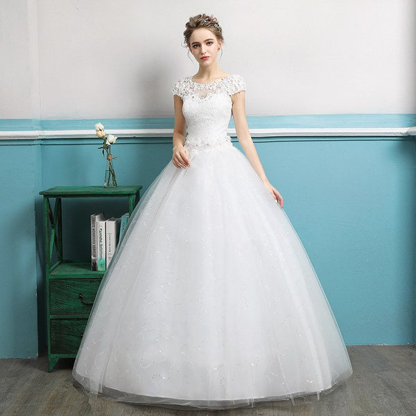 2019 Spring Wedding Dress Beading Tulle Ball Gown Back Lace Up Bridal Gowns Robe De Mariee Vestido De Noiva Clearance Sale