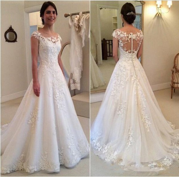 Wedding Dresses 2019 Sheer Neck Princess A Line Bridal Gown Buttons Back Bride  vestido de noiva 952554379676