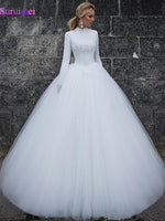 2019 Simple Arabic Dubai muslim boho plus size Ball Gown wedding dresses bridal gowns High Neck Long Sleeves