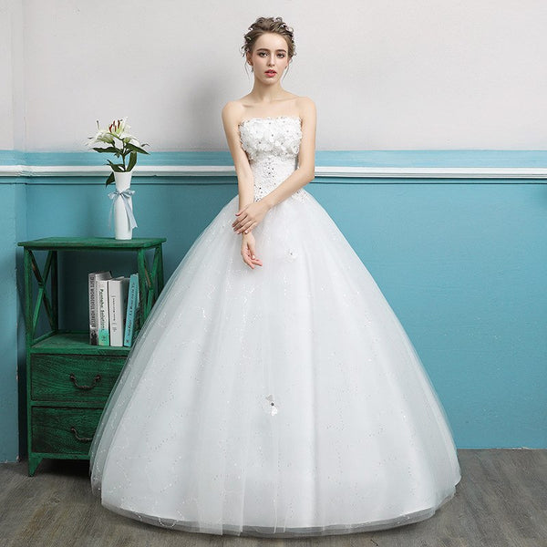Clearance Sale Wedding Dress 2019 Sweet Strapless Tulle Ball Gown Back Lace Up Bridal Gowns Robe De Mariee Vestido De Noiva
