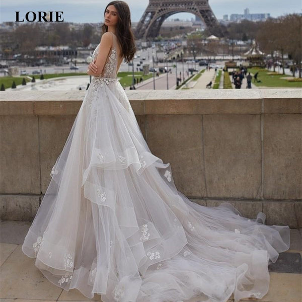 LORIE 2019 New Summer Wedding Dresses Backless Wedding Dress Sweep/ Brush Train V Neck Lace Appliques princess Dresses Plus size