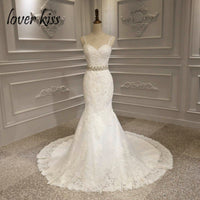 Lover Kiss vestido de novia 2019 Sweetheart Straps Lace Wedding Dress Western Style Jeweled Sash Sexy Slim Mermaid Wedding Gowns