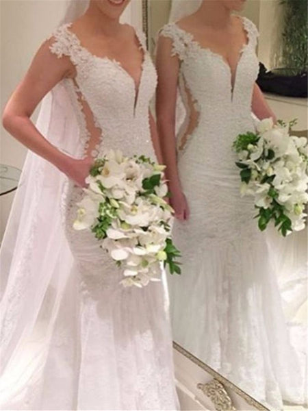 2019 New V-Neck Appliques Mermaid Wedding Dresses Elegant Bridal Dress Sheer Back Beads Wedding Gowns robe de mariage