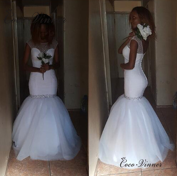Pure White Pleat mermaid wedding dresses vestidos de novia 2019 Custom Made Luxury Crystal Beading African wedding dress W0439