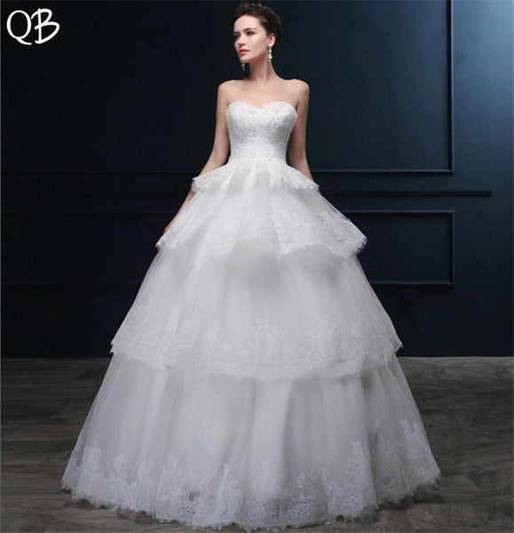 Custom Made Ball Gown Sweetheart Tulle Lace Beading Sequins Wedding Dresses Long Formal Elegant 2019 Bridal Gown DW101