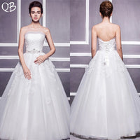 Custom Made A-line Strapless Tulle Lace Beading Sash Wedding Dresses Long Formal Elegant 2019 Bridal Gowns DW96