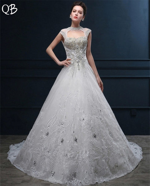 Custom Made A-line Long Train Tulle Lace Crystal Beaded Pearls Wedding Dresses Long Formal Luxury 2019 Bridal Gowns DW90