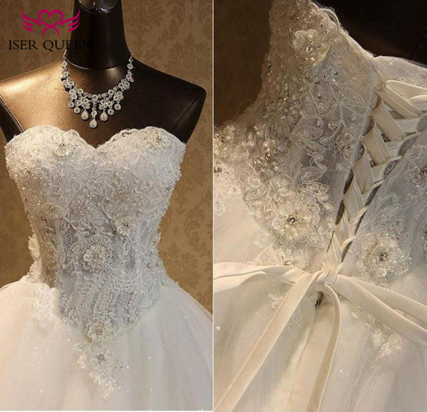 Charming Flower Appliques Princess Wedding Dress 2019 Beautiful Beading Embroidery Plus Size Elegant Lace Wedding Gown WX0093