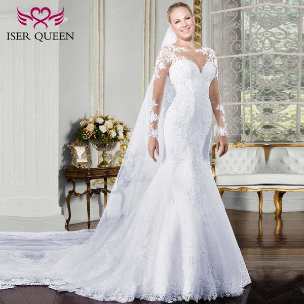 Sweetheart Sheer Neck Long Sleeve Mermaid Wedding Dress 2019 Embroidery Appliques Plus Size White Court Train Wedding Gown W0058