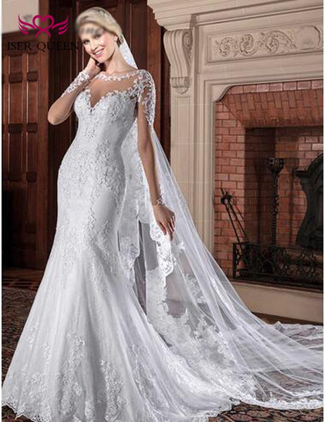 Sexy Illusion V neck Mermaid Wedding Dresses Bridal Wedding Gown 2019 Long Sleeve Lace Embroidery Beautiful Wedding Dress W0065