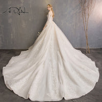 ADLN 2019 New Chapel Train Wedding Gowns with Sleeves Robe de Mariee Luxury Jewel Ball Gown Bride Dress Customized
