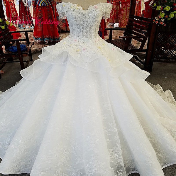 LS00383 New Arrival Simple Design Ball Gown Wedding Dress Custom made Off the Shoulder Plus size Wedding Dress 2019
