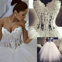 Ball Gown Sweetheart Fluffy Lace Beading Crystal Luxury Vintage Wedding Dresses 2018 New Fashion Wedding Gowns Custom Made