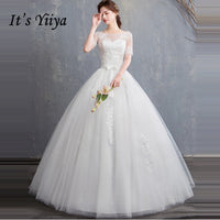It's YiiYa Wedding Dresses 2019 Simple Sequins Beading O-neck Elegant Floor-length Bridal Gowns De Novia Casamento HS307