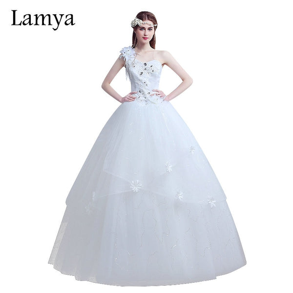 LAMYA Plus Size One Shoulder Flower Vintage Wedding Dress 2019 vestido de noiva Fashion Cheap Customized Bridal Gown Dresses