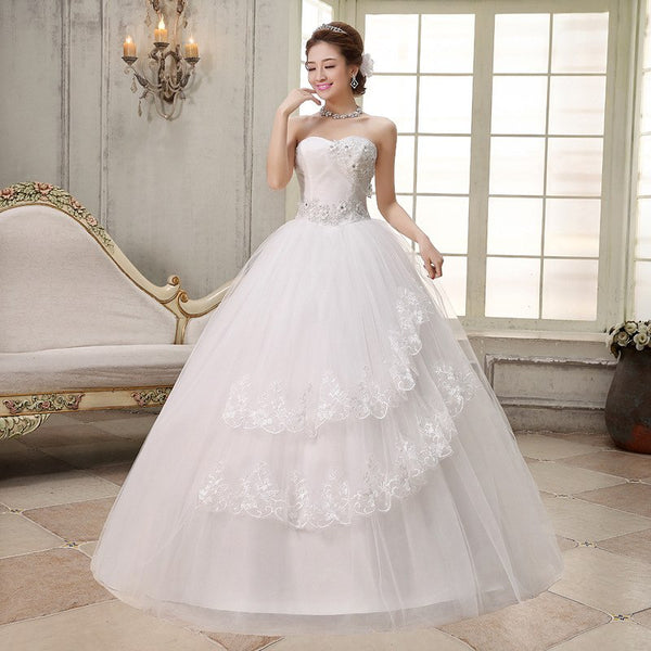 Ball Gowns Spaghetti Straps White Ivory Tulle Wedding Dresses 2019 with Pearls Bridal Dress Marriage Customer Made Size