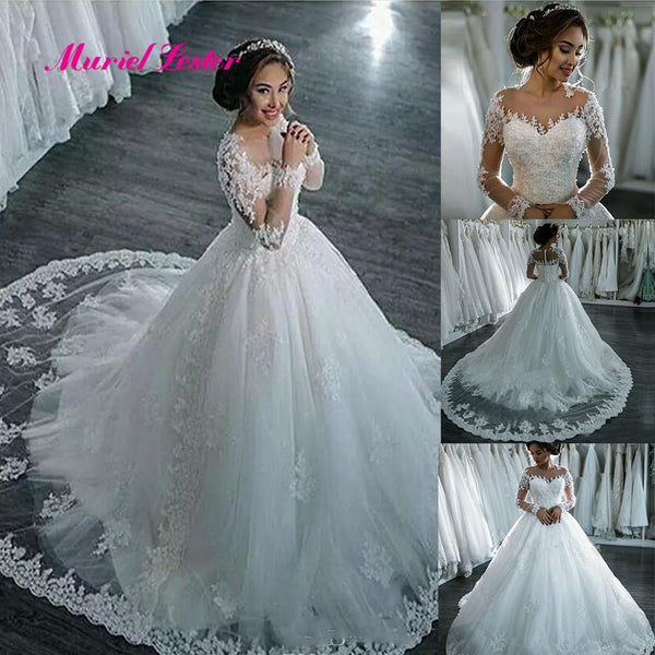 a8dc7270f55 Vestidos De Noiva 2019 Elegant Long Sleeve Bride Wedding Dress Tulle  Appliques Beaded Princess Lace Ball