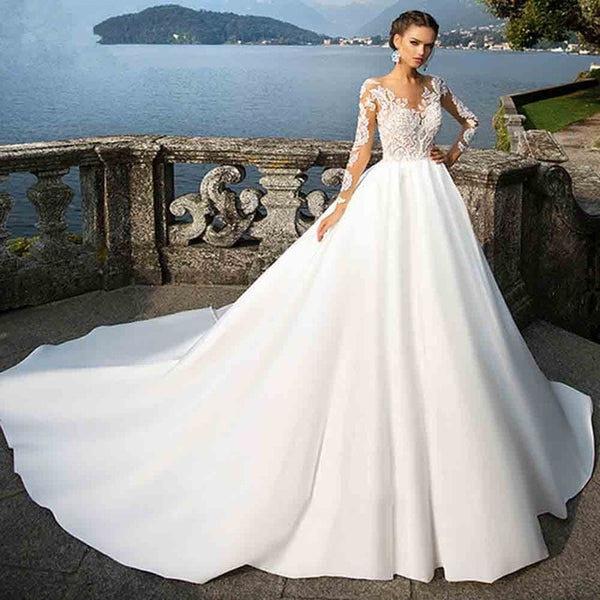 d7e90f110494 ... Elegant Arabic Wedding Dress Long Sleeve Ball Gown Bride Dresses 2019 Vestido  de Noiva Princesa Satin