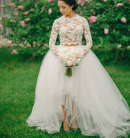 1fe2bf967766e Lace 2019 White Long Sleeve Wedding Dress Ball Gown 2 Two Piece Short Front  Long Back