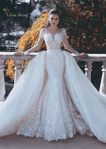 Luxury Long Sleeve Wedding Dress With Detachable Train Backless Saudi Arabic Mermaid Bridal Gowns Robe de mariage