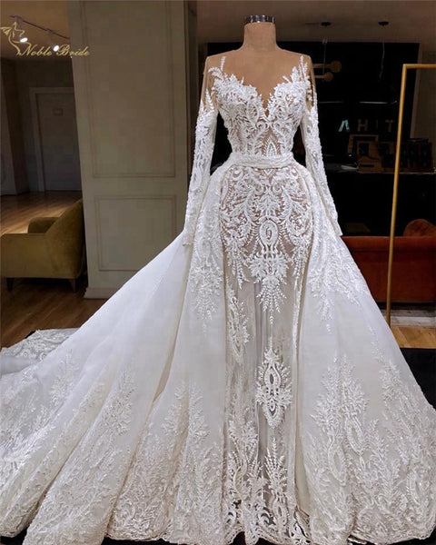 Luxury Mermaid Wedding Dress With Detachable Overskirt Transparent Long Sleeve High Quality Lace Bridal Gowns