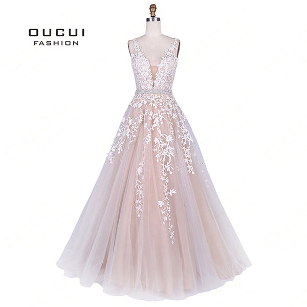f997daf43e47 V-Neck Lace Appliques Formal Evening Dress Princess 2019 A-line Party Gowns  African