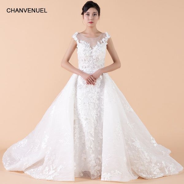 LSXJ001 detachable train wedding dress  A-line count train sleeveless tank lace see-through zipper back elegant wedding gowns