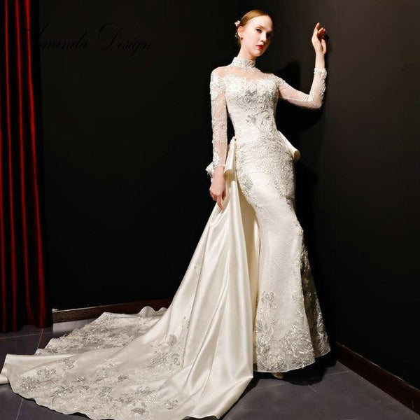 Amanda Design High Neck Crystal Beading Long Sleeve Keyhole Back Wedding Dress with Detachable Train