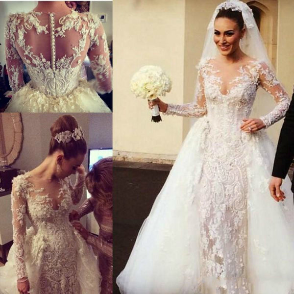 fdd30db34f0 Gorgeous Lace Applique Wedding Dresses Detachable Train Sheer Neck Long  Sleeve Back Covered Buttons Pearls Beaded ...