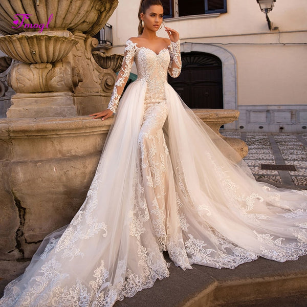 1d98665a643a Fmogl Gorgeous Appliques Detachable Train Mermaid Wedding Dresses 2019 Sexy Boat  Neck Long Sleeves Bridal Gown