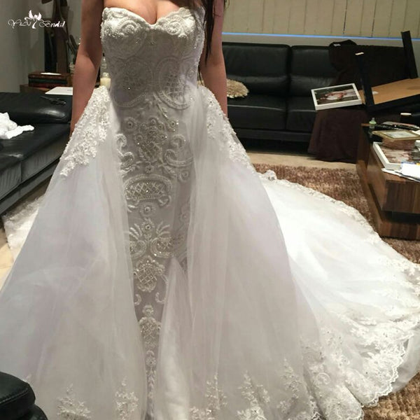 LZ261 Heavy Beading Mermaid Bridal Dresses Luxury Removable Train Wedding Dress 100% Actual Photos China Online Shop