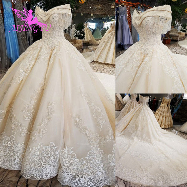 AIJINGYU Removable Luxury Gowns Alibaba Bridal Online Cheap For Sale Rose Lace Tail Sex Dress Ball Gown Wedding Dresses