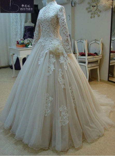 47964e4d632 High Neck Ball Gown Wedding Dress Lace Long Sleeves Champagne Organza Muslim  Wedding Dress Plus Size
